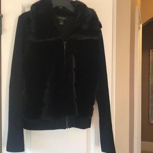 Black faux fur cardigan L